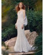 Illusion Neckline Mermaid Wedding Gown in Beaded Lace