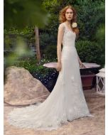 Diamond Neckline A-Line Wedding Dress