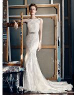 Bateau Neckline Mermaid Wedding Dress with Cap Sleeves