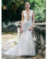Glamorous V-Neckline Mermaid Wedding Dress