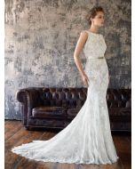 Bateau Neckline Mermaid Wedding Dress in Lace