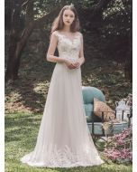 Illusion Neckline A-Line Wedding Dress with Lace