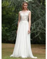 Illusion Neckline A-Line Wedding Gown