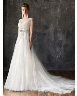 V-Neck A-Line Wedding Dress in Lace