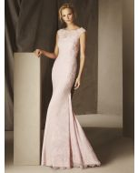 Boat Neck Mermaid Evening Dress in Crepe