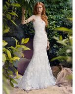 V-Neckline Trumpet Wedding Gown
