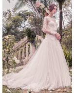 Illusion Bateau Neckline Princess Ball Gown with Lace