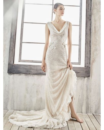 Cowl Neck Mermaid Wedding Dress in Sequin