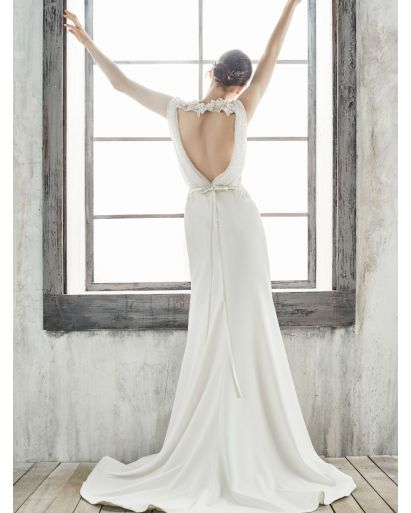 Mermaid Wedding Dress in Crepe with Plunging Neckline