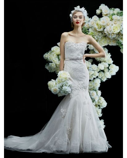 Strapless Neckline Trumpet Wedding Dress