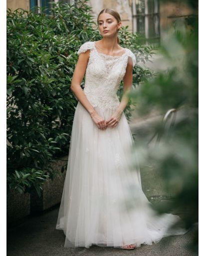 Square Neckline A-Line Wedding Gown