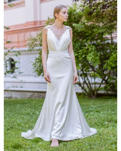 V-Neck Column Wedding Gown in Silk