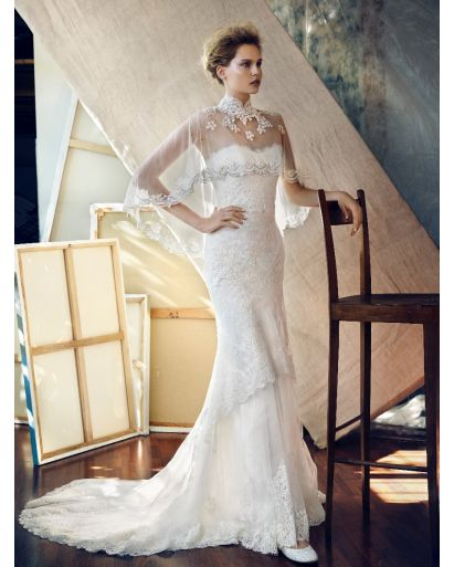 Strapless Neckline Mermaid Wedding Dress with Lace