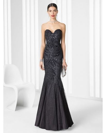 Strapless Body Contouring Evening Dress with Embellishment