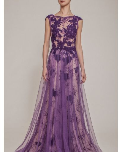 Beautiful Sheer Boat Neck Evening Gown