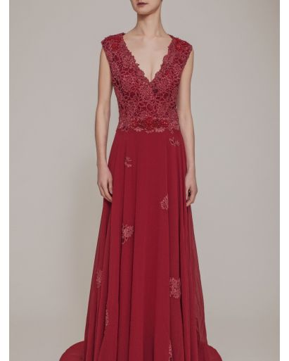 Elegant V-Neck A-Line Evening Gown in Chiffon