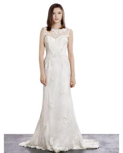 Bateau Neckline Column Wedding Dress