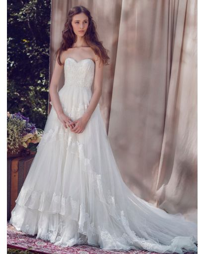 Sweetheart Neckline A-Line Wedding Gown with Ruffles