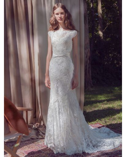 Boat Neck Mermaid Wedding Gown in Lace