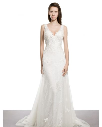 V-Neckline A-Line Wedding Dress with Tulle Overlay