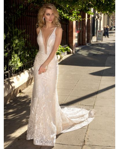 V-Neckline Mermaid Wedding Dress with Lace
