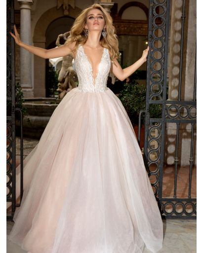 Plunging Neckline Princess Ball Gown in Organza