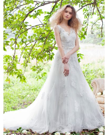 V-Neckline A-Line Wedding Dress in Lace