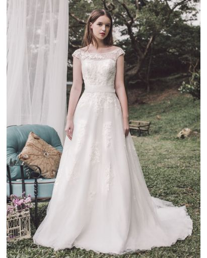 Boat Neckline A-Line Wedding Dress in Lace