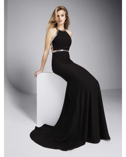 Sleeves Neckline Mermaid Evening Dress in Crepe