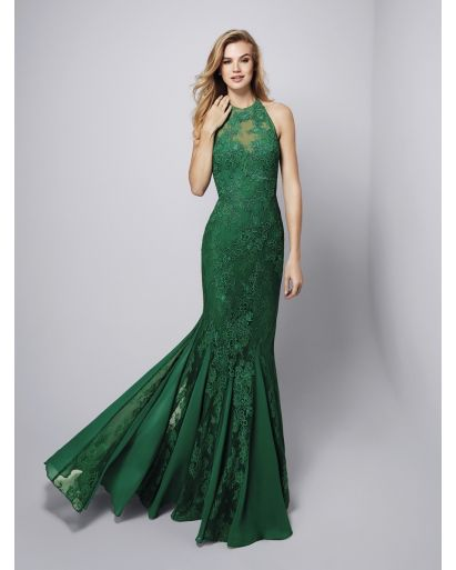 Halter Neckline Mermaid Evening Gown in Emerald Green