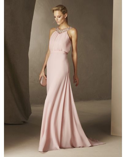 Halter Neckline Sheath Evening Dress in Gauze