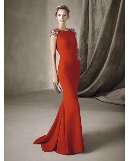 Bateau Neckline Mermaid Evening Dress in Crepe