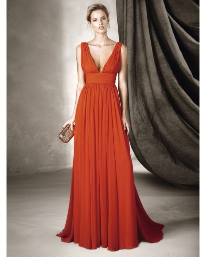 V-Neck A-Line Evening Dress in Gauze