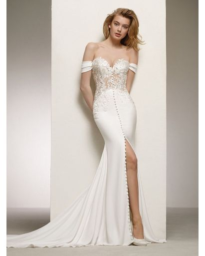Sweetheart Neckline Mermaid Wedding Dress with Off-the-Shoulder Sleeves