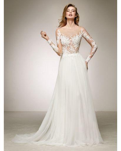 Sheer Neckline A-Line Wedding Dress in Tulle