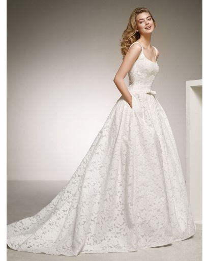 Square Neckline Princess Ball Gown in Tonal Lace