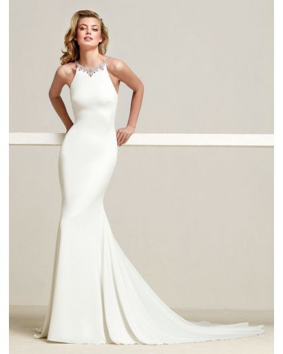 Halter Neckline Mermaid Wedding Dress in Crepe