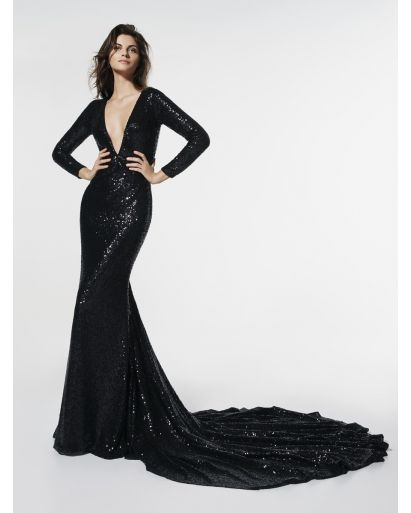 V-Neckline Mermaid Evening Gown with Sequins