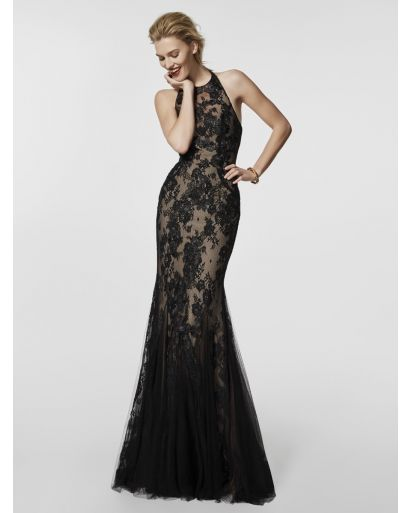 Halter Neckline Mermaid Cocktail Dress with Lace