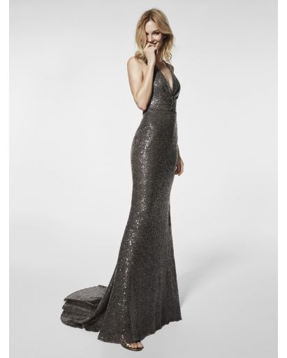 V-Neckline Mermaid Evening Gown with Cross-Back