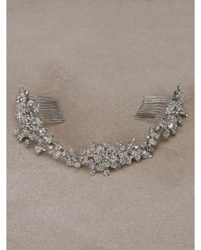 Silver Double Hair Comb with Rhinestones