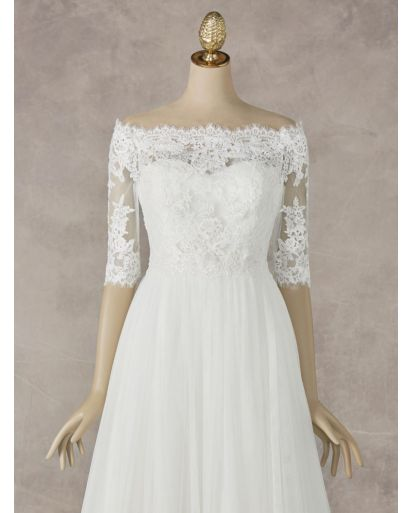 Off-the-Shoulder Medium Sleeves Lace Bridal Jacket