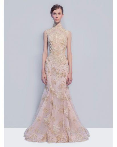 Exquisite Oriental Lace Evening Dress