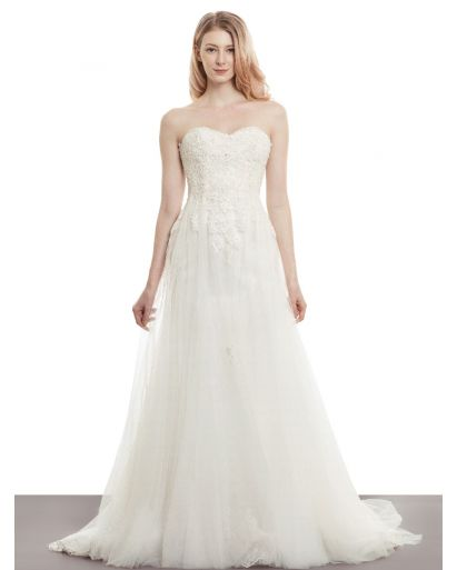 Strapless Neckline A-Line Wedding Gown