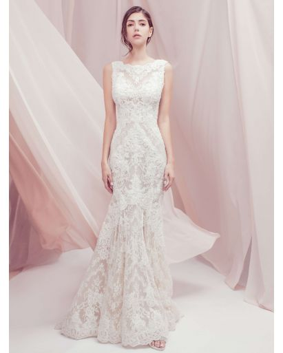 Bateau Neckline Mermaid Wedding Dress with Nude Underlay