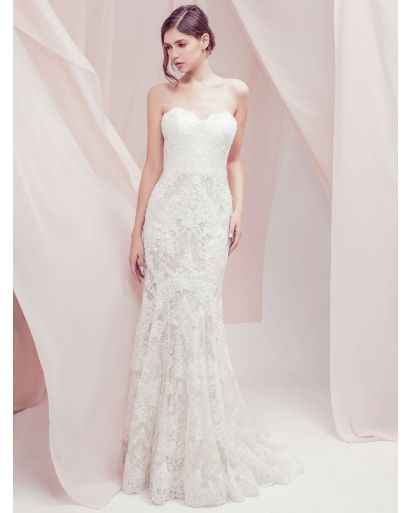 Sweetheart Neckline Mermaid Wedding Dress with Lace and Nude Lining