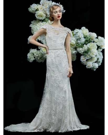 Boat Neck A-Line Wedding Dress in Lace