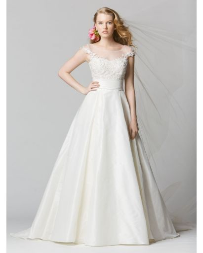 Illusion Neckline A-Line Wedding Dress in Taffeta