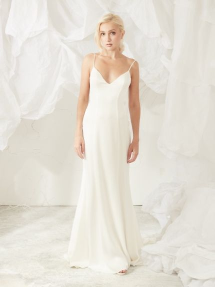 Crepe Wedding Dress With Plunging Back