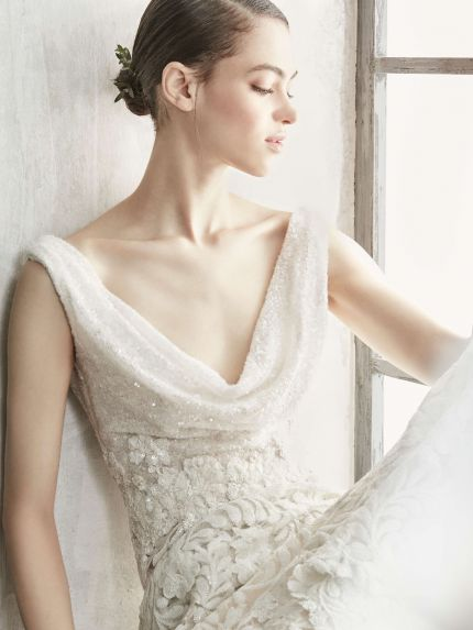 Cowl Neck Mermaid Wedding Dress with Unique Lace